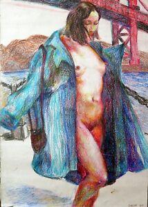 "Original pastel painting ""The Casual Walk"" by Qi Debrah,Figurative,14.5""x20"",US"