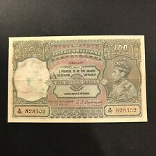 British India 1943 King George VI 100 Rupees CD Deshmukh KARACHI Repaired - G+