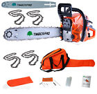 TIMBERPRO 62cc Petrol Chainsaw. Bumper Pack with 4x Chain Saw Chains & Extra Bar