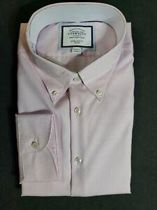 """New Charles Tyrwhitt Long Sleeve Pink Button Up Shirt Size 17 1/2 - 35"""""""