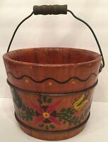 Walkraft Antique Primitive Pennsylvania Dutch Wooden Pail Bucket Hand Painted