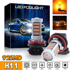 2x 92SMD H8 H11 H9 Fog Light Amber Yellow LED Projector Driving Bulbs High Power