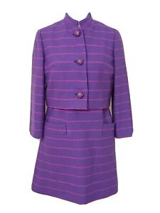 VINTAGE 1960s ANNE FOGARTY DRESS WITH JACKET PURPLE WITH PINK STRIPES, MINT