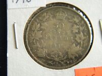 1918 Canada Sterling Silver 50 Cent Piece-11.66 Grams Sterling Silver--19-517