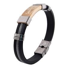 Stylish Men Stainless Steel Cuff Black Rubber Bangle Bracelet w/ Christian Cross