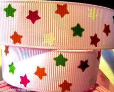 RUBAN GROS-GRAIN ** 25 mm **  étoile multicolore fond rose - Vendu au mètre