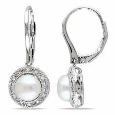 Amour Silver White Pearl and Diamond Accent Earrings (7.5-8 mm)