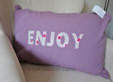 Kissenhülle lila 40x60 rechteckig Kissenbezug bestickt Enjoy Landhaus Vintage