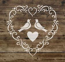 Stencil Shabby Chic Vintage HEART French Furniture  125 micron Mylar A5 (65)