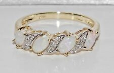 9ct Gold Natural Opal & Diamond Ladies Eternity Ring - size N