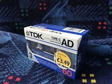 TDK AD 60 Blank Cassette Tapes. 3 pack. New&sealed. 1986 Vintage Type 1 JAPAN.