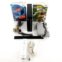 Nintendo Wii Black Console Bundle Lot w/ 2 Games, Controllers, Cables Tested