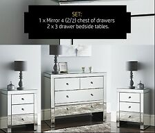 Large 4 draw Chest 2+2 Venetian mirror Chest of Drawers + 2 x bedside Chest New