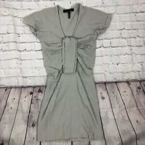 Isabel Marant ruched dress Size 0 Textured Short Sleeves Grey Designer Modern