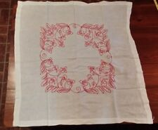 VINTGE HAND EMBROIDERY FLORAL RED WORK FREE SHIPPING