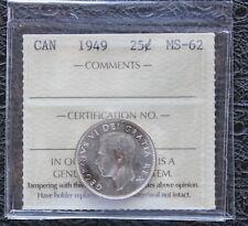 1949 CANADA Silver Quarter - ICCS MS62
