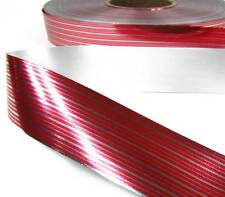 "10 Yds Christmas Metallic Candy Cane Red Silver Stripe Ribbon 1 1/4""W"