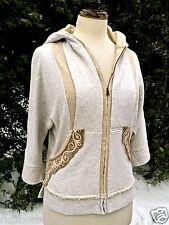 NEW Free People oatmeal tan Embroidered Trim Hooded Dolman Sleeve Sweatshirt S