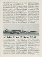 1952 Aviation Article First Photo of Boeing XB-52 Stratofortress Bomber B-52