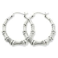 925 Sterling Silver Rhodium Plated Bamboo Hinged Hoop Earrings 3mm x 35mm