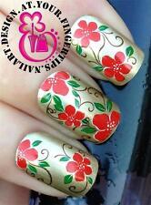 Nail Art Wraps transferencias de agua Stickers Calcomanías Decoraciones conjunto Rojo Flores # 222