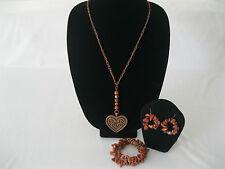 Copper heart, gold stone pendant, three piece jewelry set.