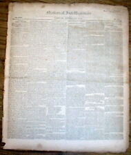 1831 newspaper w front page report of the DEATH of EX-PRESIDENT JAMES MONROE
