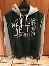 Nfl New York Jets Football Hooded Green & Gray Zippered Sweat Shirt New Sz M