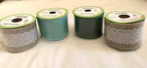 """4 Rolls Of Floral Garden 2"""" X 9ft Wire Edged Burlap Ribbon"""