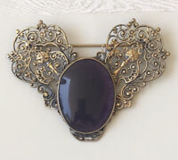 Vintage victorian style Cabochon glass large brooch Pin