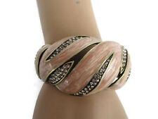 "Heidi Daus ""Mod About You"" Pink Enamel Crystal Cuff Bracelet NEW Ret. $140."