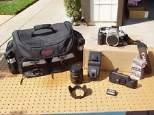 CANON EOS 50E 35mm SLR CAMERA + TOKINA 28-105mm LENS BATTERY PACK CASE BUNDLE ++