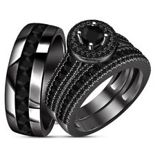Diamond Engagement Bridal Wedding Trio Ring Set 14K Black Gold Over His Her Aaa