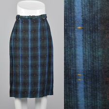 Small 1950s Plaid Flannel Pencil Skirt VTG Green Blue Soft Stripe Matching Belt