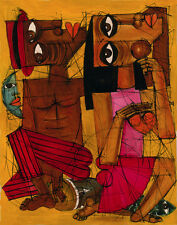 "CUBAN ART #075 ** DIEGUEZ** AL RITMO DE TU CORAZON 28X36"" SIGNED ON CANVAS"