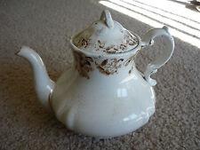Antique Transferware Teapot/ Cream & Brown/ Maker'S Mark Worn/ Display Only