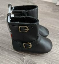 New Infant Girl's Old Navy Black Faux Leather Buckle Crib Boot Size 2 3-6 Months