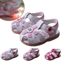 Summer Toddler Kid Baby Girl Lighted Soft Princess Crib Shoes Sunflower Sandals
