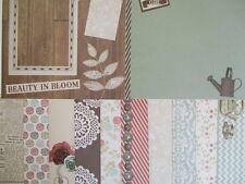 """12 sheets  8x8"""" Scrapbook Backing Papers - Dovecraft Curiosity Corner - garden"""