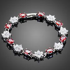 Classy Sparkly Shiny Clear White CZ Red Zircon Flower Bracelet Bangle Jewellery