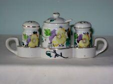 Floral Porcelain Salt & Pepper, Mustard Pot, Lid, Spoon w/ Caddy Occupied Japan