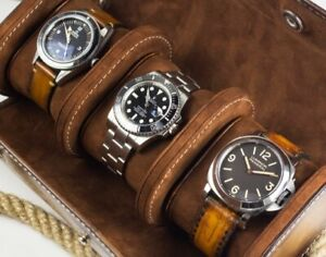 Leather Travel watch roll for three watches