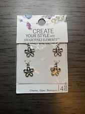 Create Your Style with Swarovski Elements-4 Charm Set -Silver Finish-No Nickel