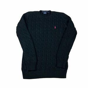 Ralph Lauren Sport Cableknit Jumper Womens Medium Black Pullover Sweater