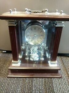 Wallace Quartz Silversmith Mahogany Carriage Mantle Clock - Battery Operated