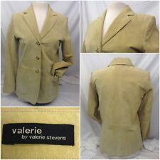 Valerie Stevens Jacket Small Beige 3 Button 100% Leather Mint A146