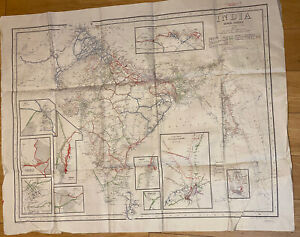 """1944 Antique WWII """"RESTRICTED"""" Map of India Showing Railways, Survey of India"""