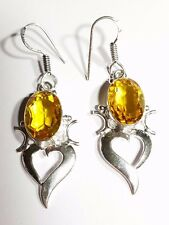 DOLFIN ORANGE TOPAZ   CABOCHON STERLING SILVER FILLED DROP EARRINGS