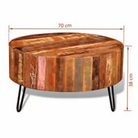 70 x 38 cm Coffee Table Reclaimed Wood  Natural Round  Side Table Iron Legs