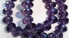 6x8 mm, violet Transparent , naturel facetté cristal , perles lâches , 68 pcs